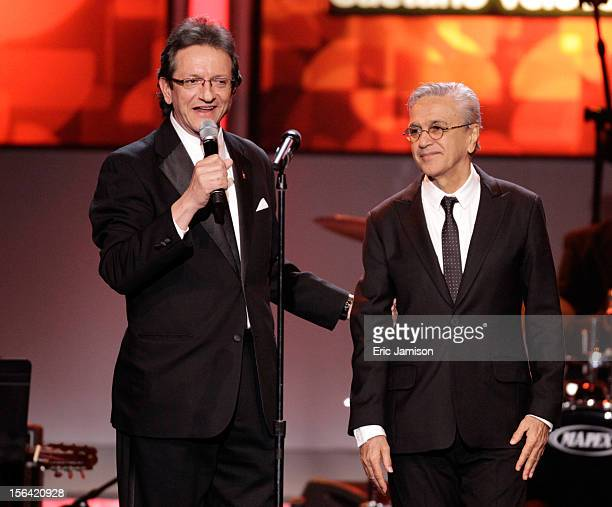 President and CEO of the Latin Academy of Recording Arts Sciences Gabriel Abaroa Jr and honoree Caetano Veloso onstage during the 2012 Latin...