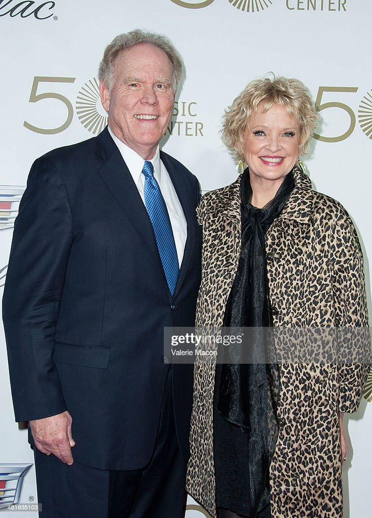President and CEO of The Music Center Stephen Rountree and actress/singer <a gi-track='captionPersonalityLinkClicked' href=/galleries/search?phrase=Christine+Ebersole&family=editorial&specificpeople=214025 ng-click='$event.stopPropagation()'>Christine Ebersole</a> arrive at The Music Center's 50th Anniversary Launch Party at Dorothy Chandler Pavilion on April 1, 2014 in Los Angeles, California.