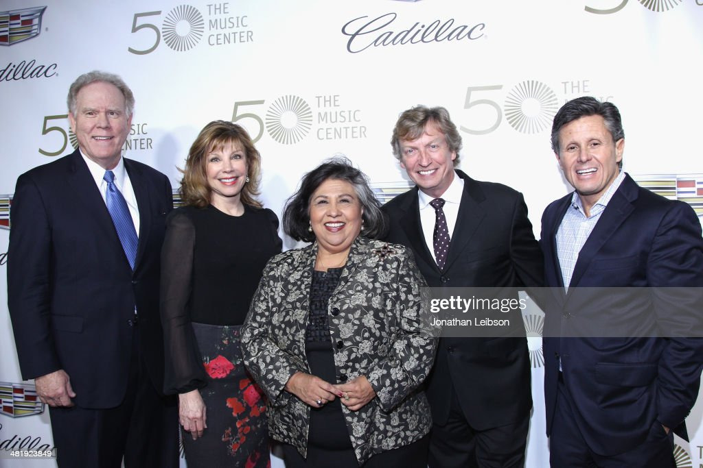 President and CEO of The Music Center Stephen Rountree, Chairman of the Board Lisa Specht, Los Angeles County Board of Supervisors member Gloria Molina, Host/Board Member <a gi-track='captionPersonalityLinkClicked' href=/galleries/search?phrase=Nigel+Lythgoe&family=editorial&specificpeople=736462 ng-click='$event.stopPropagation()'>Nigel Lythgoe</a> and Cadillac Ad Director Craig Bierley arrive at The Music Center's 50th Anniversary Launch Party held at The Dorothy Chandler Pavilion on April 1, 2014 in Los Angeles, California.