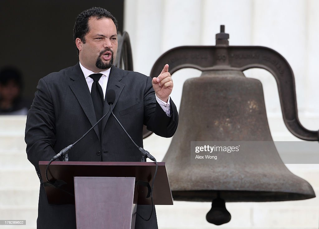 President and CEO of the NAACP Benjamin Todd Jealous speaks during the Let Freedom Ring ceremony at the Lincoln Memorial August 28, 2013 in Washington, DC. The event was to commemorate the 50th anniversary of Dr. Martin Luther King Jr.'s 'I Have a Dream' speech and the March on Washington for Jobs and Freedom.