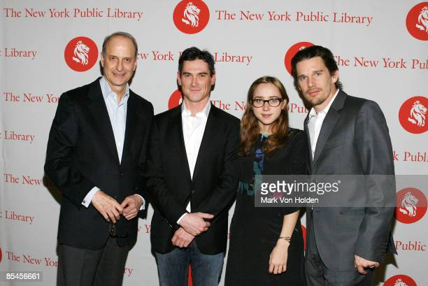 President and CEO of The New York Public Library Dr Paul LeClerc Billy Crudup Zoe Kazan and Ethan Hawke attend the 2009 Young Lions Fiction Awards at...