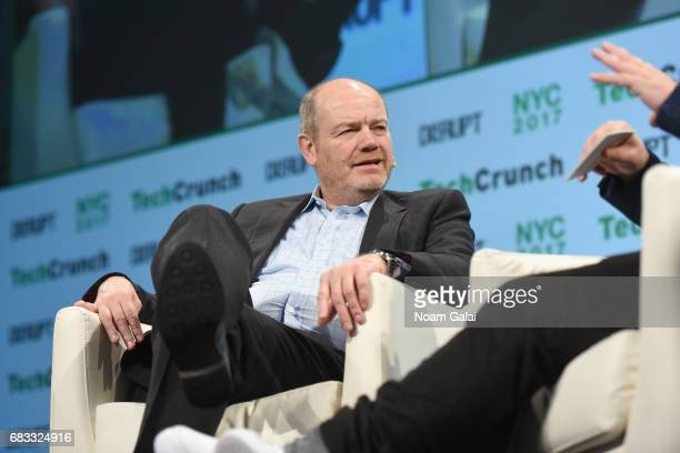 President and CEO of the New York Times Company Mark Thompson speaks onstage during TechCrunch Disrupt NY 2017 at Pier 36 on May 15 2017 in New York...