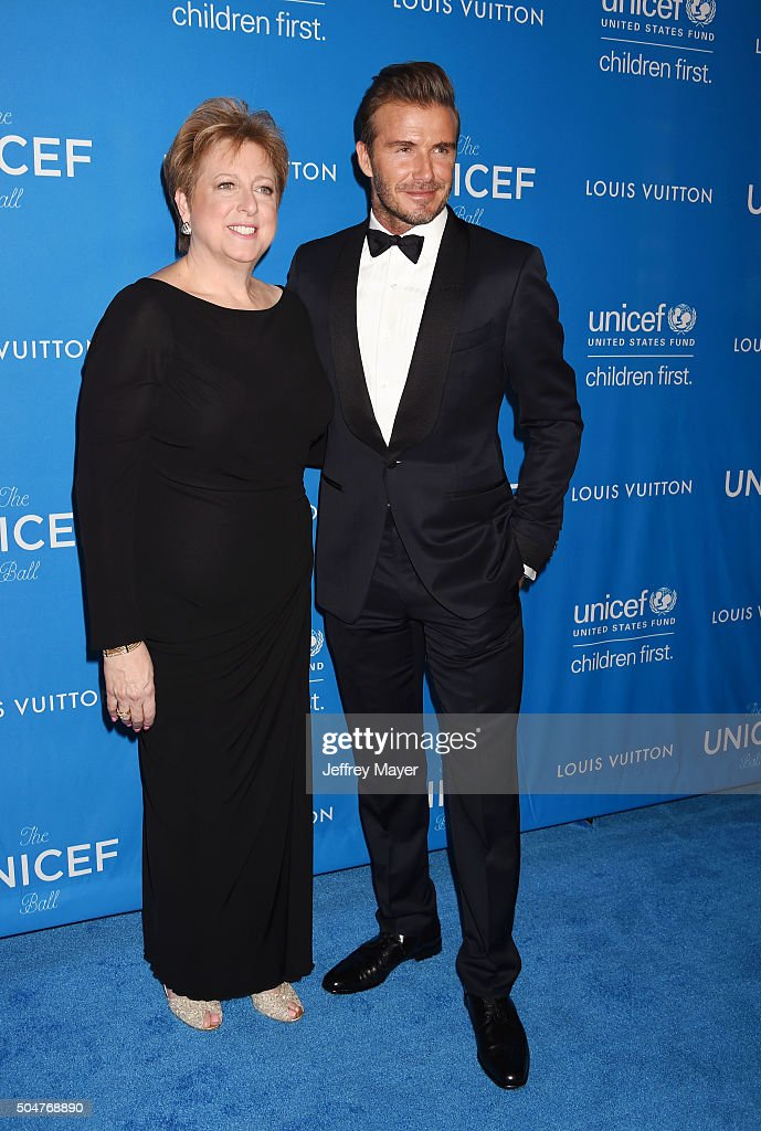 President and CEO of the US Fund for UNICEF Caryl Stern and honoree David Beckham arrive at the 6th Biennial UNICEF Ball at the Beverly Wilshire Four...