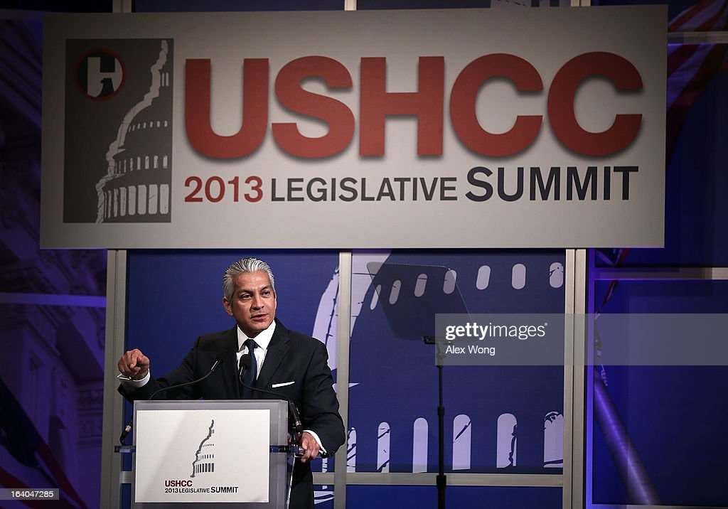 President and CEO of the U.S. Hispanic Chamber of Commerce (USHCC) Javier Palomarez speaks during a breakfast meeting of the chamber's 2013 Annual Legislative Summit March 19, 2013 at Capitol Hilton Hotel in Washington, DC. U.S. Sen. Rand Paul (R-KY) also spoke at the event on immigration and he announced his endorsement for a pathway for the 11 million illegal immigrants in the United States to become citizens.