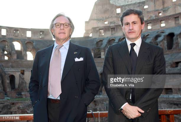 President and CEO of Tod's Diego Della Valle and Rome's Mayor Gianni Alemanno attend 'Tod's and Il Colosseo' press conference at the Coliseum on June...