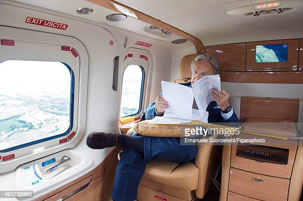 FIGARO ID 111370033 President and CEO of Tod's Diego Della Valle is photographed on his private jet for Le Figaro Magazine on July 29 2014 in Casette...