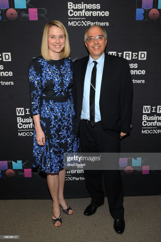 President and CEO of Yahoo!, <a gi-track='captionPersonalityLinkClicked' href=/galleries/search?phrase=Marissa+Mayer&family=editorial&specificpeople=5577875 ng-click='$event.stopPropagation()'>Marissa Mayer</a> and Steven Levy attend the WIRED Business Conference: Think Bigger at Museum of Jewish Heritage on May 7, 2013 in New York City.