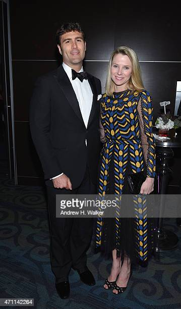 President and CEO of Yahoo Marissa Mayer and Zachary Bogue attend the Yahoo News/ABC News White House Correspondents' dinner reception preparty at...