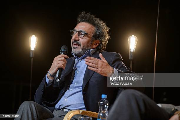 President and CEO of yogurt company 'Chobani' and founder of the tent foundation Hamdi Ulukaya speaks at the Creativity For Change Forum part of...