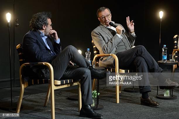 President and CEO of yogurt company 'Chobani' and founder of the tent foundation Hamdi Ulukaya listens to President Of Estonia Toomas Hendrik Ilves...