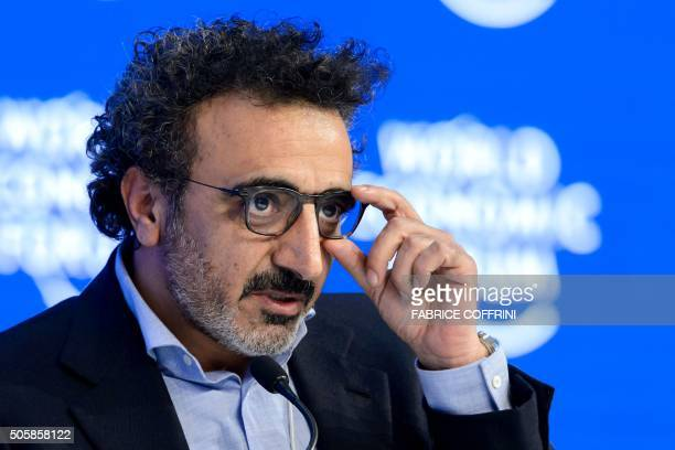 President and CEO of yogurt company Chobani Hamdi Ulukaya gestures during a session at the World Economic Forum annual meeting in Davos on January 20...