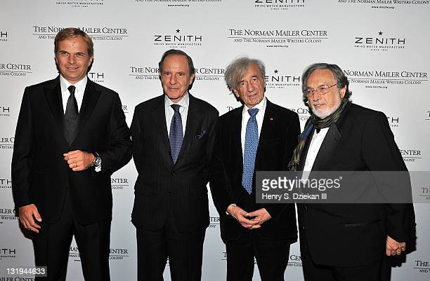 President and CEO of Zenith JeanFrederic Dufour writer Gay Talese author Elie Wiesel and Lawrence Schiller attend the 3rd Annual Norman Mailer Center...