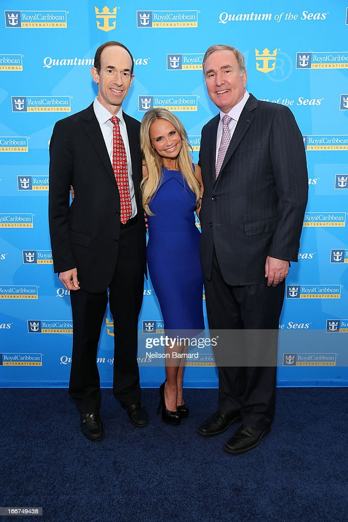President and CEO Royal Caribbean International Adam M. Goldstein, <a gi-track='captionPersonalityLinkClicked' href=/galleries/search?phrase=Kristin+Chenoweth&family=editorial&specificpeople=207096 ng-click='$event.stopPropagation()'>Kristin Chenoweth</a> and Chairman and CEO of Royal Caribbean Cruises Richard D. Fain attend Royal Caribbean International reveals groundbreaking Quantum-Class ships on April 16, 2013 in New York City.