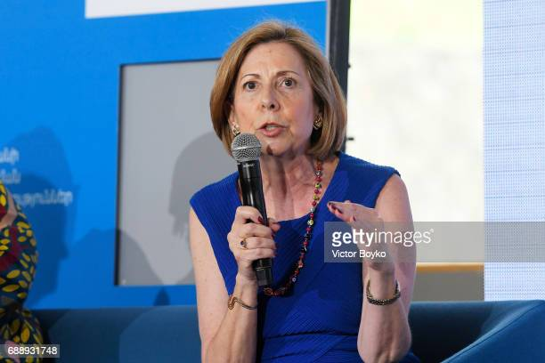 President and CEO The 9/11 Memorial and Museum Alice M Greenwald during the Galvanizing the World Session at the Aurora Dialogues a series of...