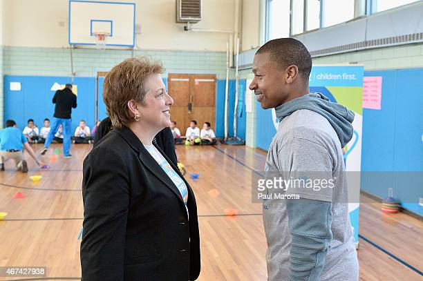 President and CEO US Fund for UNICEF Caryl Stern and Boston Celtics point guard Isaiah Thomas attend the UNICEF Kid Power kick off in Boston with...