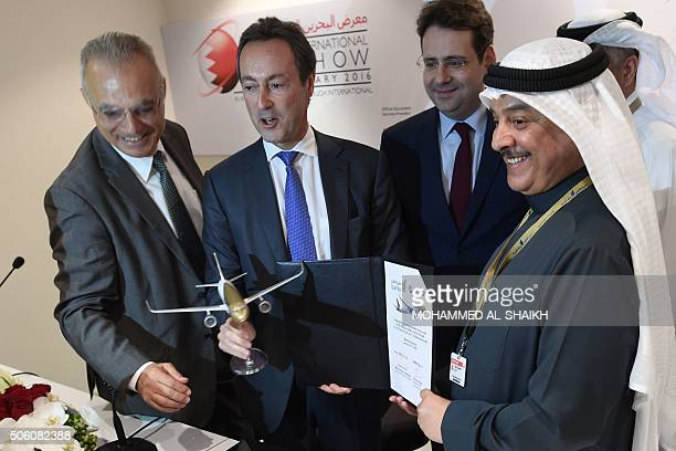 President and Chief Executive officer Airbus Fabrice Brégier and Gulf Air CEO Maher Salman AlMusallam pose for a photo after siging a contract for...