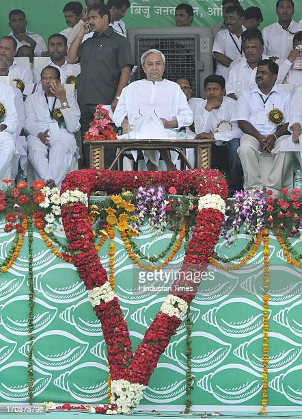 President and Chief Minister of Odisha Naveen Patnaik with senior leaders of the party during massive Swabhiman rally at Ramlila Maidan on June 12...