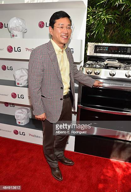 President and Chief Operating Officer of LG Corp Juno Cho attends Eva Longoria and LG Electronics Host 'Fam To Table' Series at The Washbow on August...