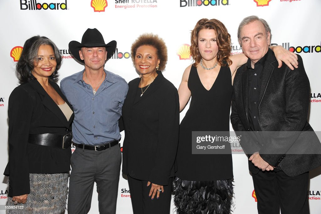 President and Chief Operating Officer, The Apollo, Jonelle Procope, honoree Kenny Chesney, Leslie Uggams, event host Sandra Bernhard, and honoree Neil Diamond attend the 2012 Billboard Touring Awards Reception at The Roosevelt Hotel on November 8, 2012 in New York City.