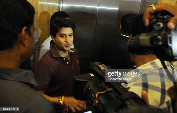 MPCA president and Congress MP from Guna Jyotiraditya Scindia interacting with the media persons here at Hotel Radisson on August 23 2014 in Indore...