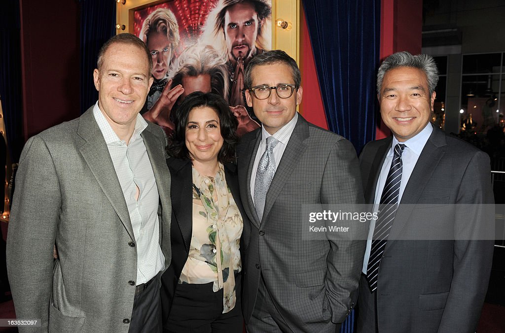 President and COO for New Line Cinema Toby Emmerich, President, Worldwide Marketing for Warner Bros. Pictures, Sue Kroll, actor/producer Steve Carell, and Warner Bros. Pictures' CEO Kevin Tsujihara attend the premiere of Warner Bros. Pictures' 'The Incredible Burt Wonderstone' at TCL Chinese Theatre on March 11, 2013 in Hollywood, California.
