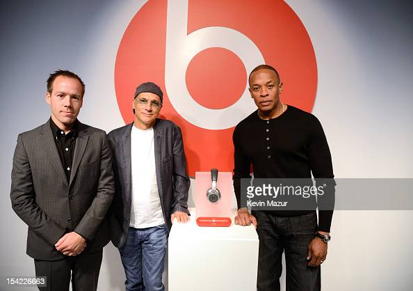 President and COO of Beats By Dre Luke Wood Jimmy Iovine and Dr Dre launch the Beats by Dr Dre Pill at the Beats Store in Soho NY on October 16 2012...