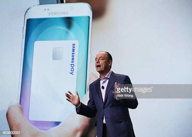 President and COO of Samsung Electronics America Tim Baxter discusses Samsung Pay a mobile payment service during a press event for CES 2016 at the...