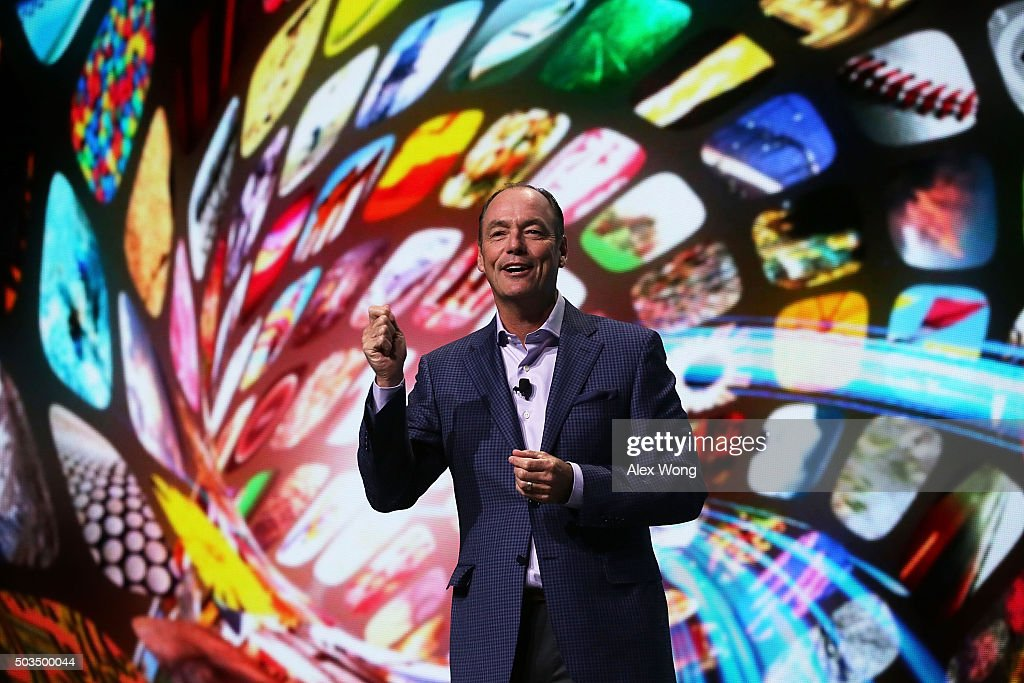 President and COO of Samsung Electronics America Tim Baxter speaks to members of the media during a press event for CES 2016 at the Mandalay Bay...