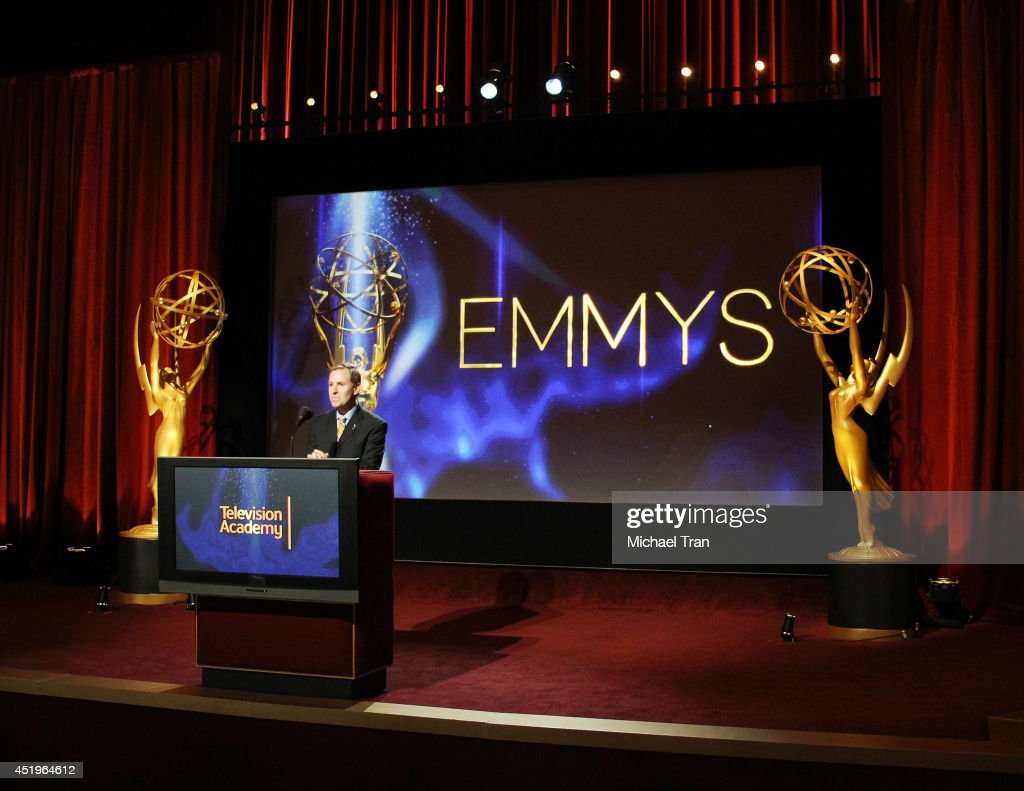 President and COO of the Television Academy, Maury McIntyre speaks at the 66th Primetime Emmy Awards nominations held at Leonard H. Goldenson Theatre on July 10, 2014 in North Hollywood, California.
