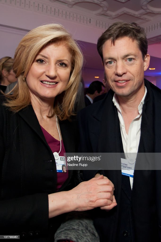 President and editor-in-chief of The Huffington Post Media Group, Arianna Huffington and Nicolas Berggruen, billionaire investor and founder of Berggruen Holdings Inc. attend the Burda DLD Nightcap 2011 at the Steigenberger Belvedere hotel on January 25, 2012 in Davos, Switzerland. DLD (Digital - Life - Design) is a global conference network on innovation, digital, science and culture which connects business, creative and social leaders, opinion-form science and culture which connects business, creative and social leaders, opinion-formers and investors for crossover conversation and inspiration.
