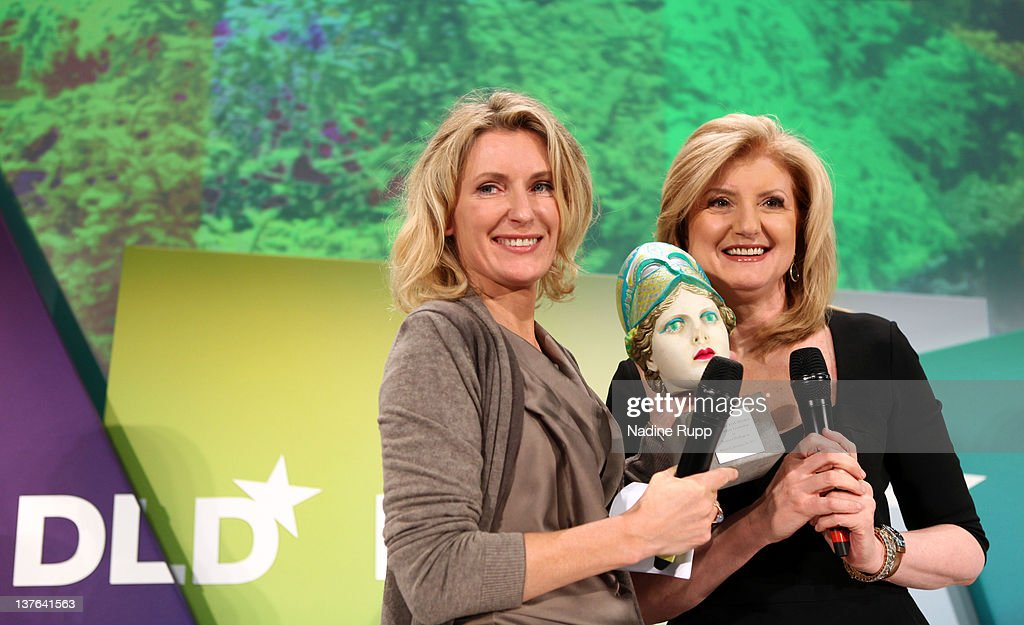 President and editor-in-chief of The Huffington Post Media Group, Arianna Huffington (R) is awarded with the 'Aenne Burda Award for Creative Leadership' by DLDwoman Chairwoman Maria Furtwaengler during the Digital Life Design conference (DLD) at HVB Forum on January 24, 2012 in Munich, Germany. ence and culture which connects business, creative and social leaders, opinion-formers and investors for crossover conversation and inspiration.
