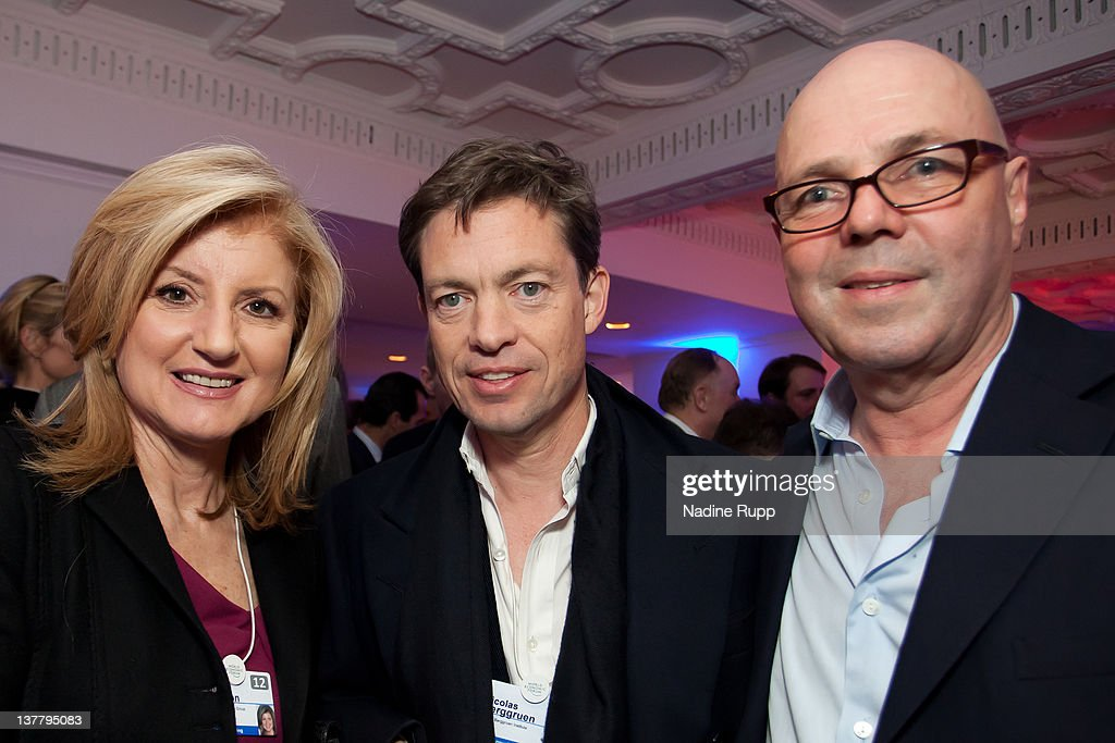 President and editor-in-chief of The Huffington Post Media Group, Arianna Huffington, Nicolas Berggruen, billionaire investor and founder of Berggruen Holdings Inc. and Staffan Ahrenberg, chairman and publisher Cashiers D'Art attend the Burda DLD Nightcap 2011 at the Steigenberger Belvedere hotel on January 25, 2012 in Davos, Switzerland. DLD (Digital - Life - Design) is a global conference network on innovation, digital, science and culture which connects business, creative and social leaders, opinion-form science and culture which connects business, creative and social leaders, opinion-formers and investors for crossover conversation and inspiration.