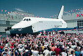 President and First Lady Ronald and Nancy Reagan stand in front of the Space Shuttle Enterprise to greet the returning shuttle Columbia the fourth...