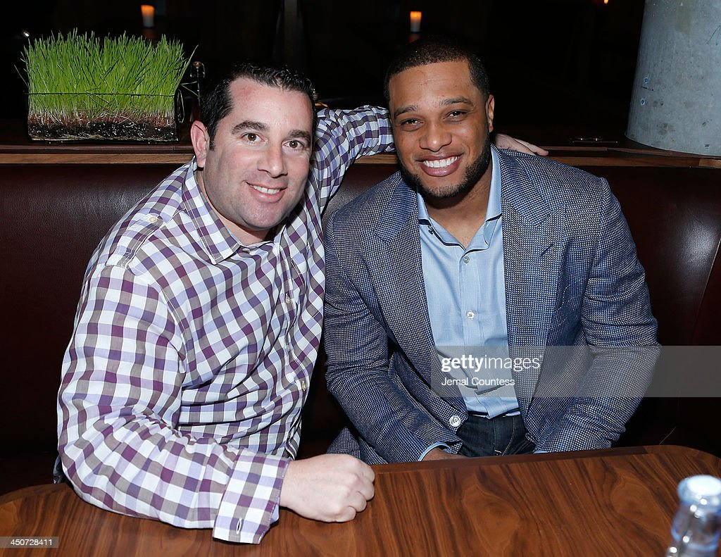 President and founder of Berk Communications Ron Berkowitz and New York Yankee Robinson Cano attend the Tequila Baron Launch Party at Butter Restaurant on November 19, 2013 in New York City.