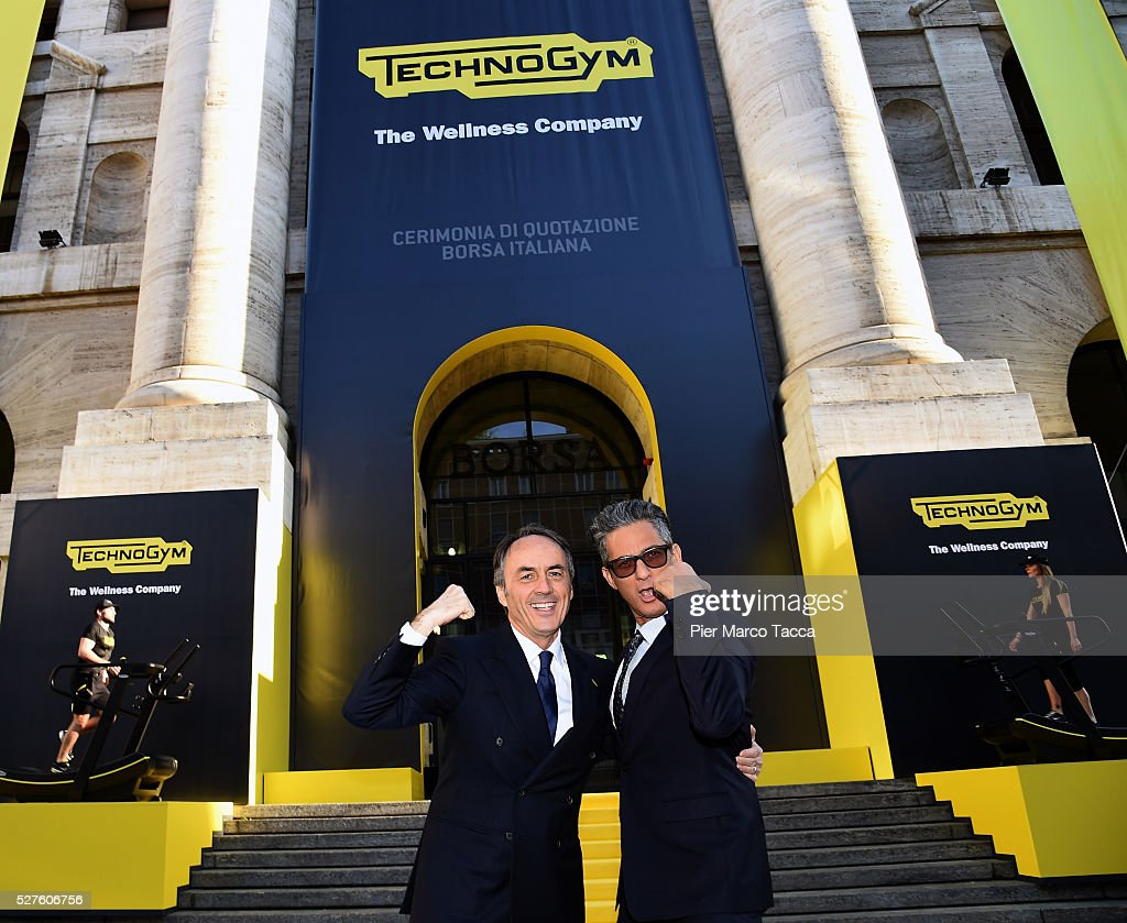 President and founder of Technogym <a gi-track='captionPersonalityLinkClicked' href=/galleries/search?phrase=Nerio+Alessandri&family=editorial&specificpeople=4607198 ng-click='$event.stopPropagation()'>Nerio Alessandri</a> and <a gi-track='captionPersonalityLinkClicked' href=/galleries/search?phrase=Rosario+Fiorello&family=editorial&specificpeople=2082907 ng-click='$event.stopPropagation()'>Rosario Fiorello</a> attend the Technogym Listing Ceremony at Palazzo Mezzanotte on May 3, 2016 in Milan, Italy. Technogym is the world leader in the construction of equipment for gyms, founded in 1983 by <a gi-track='captionPersonalityLinkClicked' href=/galleries/search?phrase=Nerio+Alessandri&family=editorial&specificpeople=4607198 ng-click='$event.stopPropagation()'>Nerio Alessandri</a>, and was listed today on the Milan Stock Exchange.