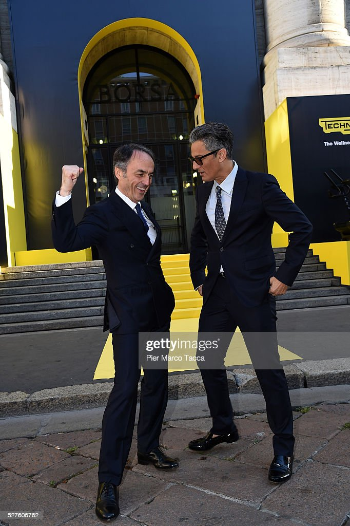 President and founder of Technogym Nerio Alessandri and Rosario Fiorello attend the Technogym Listing Ceremony at Palazzo Mezzanotte on May 3, 2016 in Milan, Italy. Technogym is the world leader in the construction of equipment for gyms, founded in 1983 by Nerio Alessandri, and was listed today on the Milan Stock Exchange.