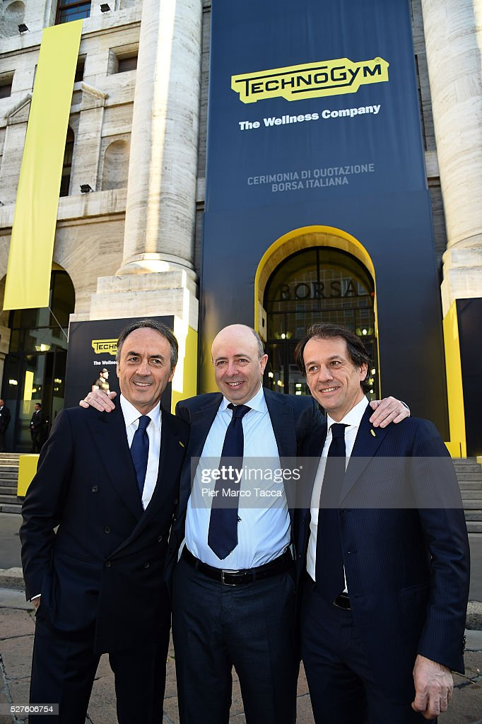 President and founder of Technogym Nerio Alessandri, CEO of Borsa Italiana Raffaele Jerusalmi and Pierluigi Alessandri attend the Technogym Listing Ceremony at Palazzo Mezzanotte on May 3, 2016 in Milan, Italy. Technogym is the world leader in the construction of equipment for gyms, founded in 1983 by Nerio Alessandri, and was listed today on the Milan Stock Exchange.