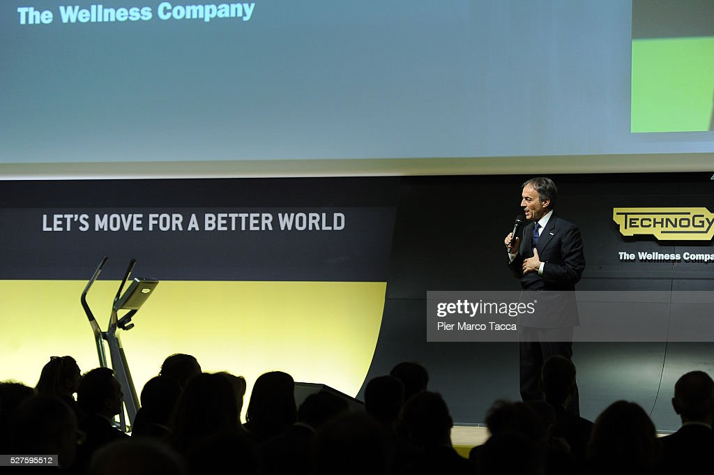 President and founder of Technogym <a gi-track='captionPersonalityLinkClicked' href=/galleries/search?phrase=Nerio+Alessandri&family=editorial&specificpeople=4607198 ng-click='$event.stopPropagation()'>Nerio Alessandri</a> talks during the Technogym Listing Ceremony at Palazzo Mezzanotte on May 3, 2016 in Milan, Italy. Technogym is the world leader in the construction of equipment for gyms, founded in 1983 by <a gi-track='captionPersonalityLinkClicked' href=/galleries/search?phrase=Nerio+Alessandri&family=editorial&specificpeople=4607198 ng-click='$event.stopPropagation()'>Nerio Alessandri</a>, and was listed today on the Milan Stock Exchange.