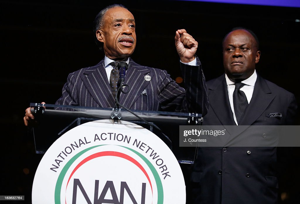 President and founder of the National Action Network Reverend Al Sharpton and Chairman of the Board at the National Action Network Reverend Dr. W. Franklyn Richardson onstage at The 4th Annual Triumph Awards at Rose Theater, Jazz at Lincoln Center on October 7, 2013 in New York City.