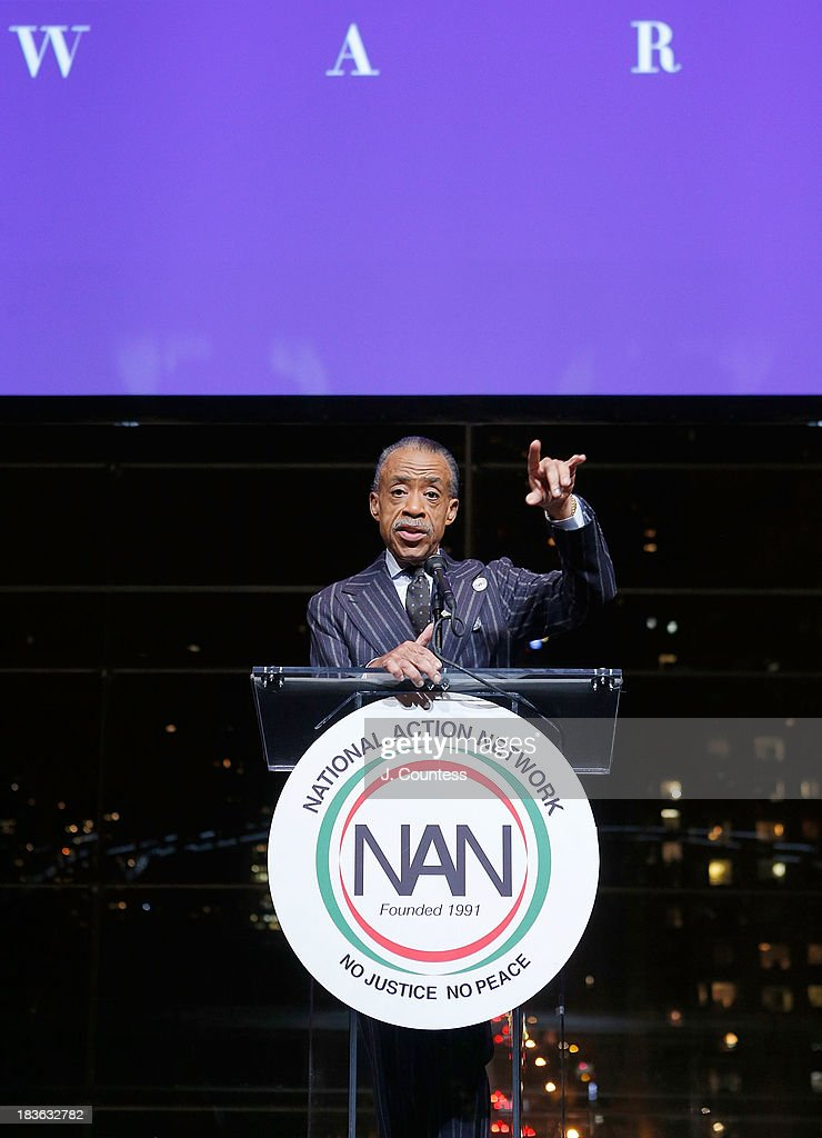 President and founder of the National Action Network Reverend <a gi-track='captionPersonalityLinkClicked' href=/galleries/search?phrase=Al+Sharpton&family=editorial&specificpeople=202250 ng-click='$event.stopPropagation()'>Al Sharpton</a> speaks at The 4th Annual Triumph Awards at Rose Theater, Jazz at Lincoln Center on October 7, 2013 in New York City.