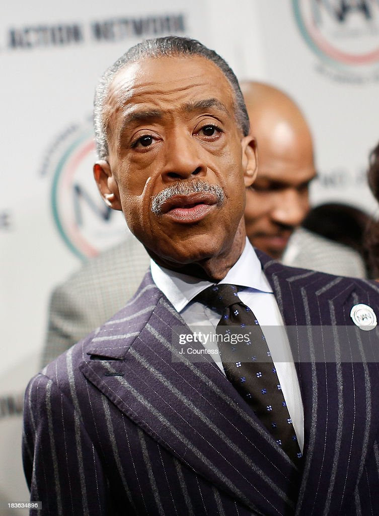 President and founder of the National Action Network Reverend Al Sharpton backstage at The 4th Annual Triumph Awards at Rose Theater, Jazz at Lincoln Center on October 7, 2013 in New York City.