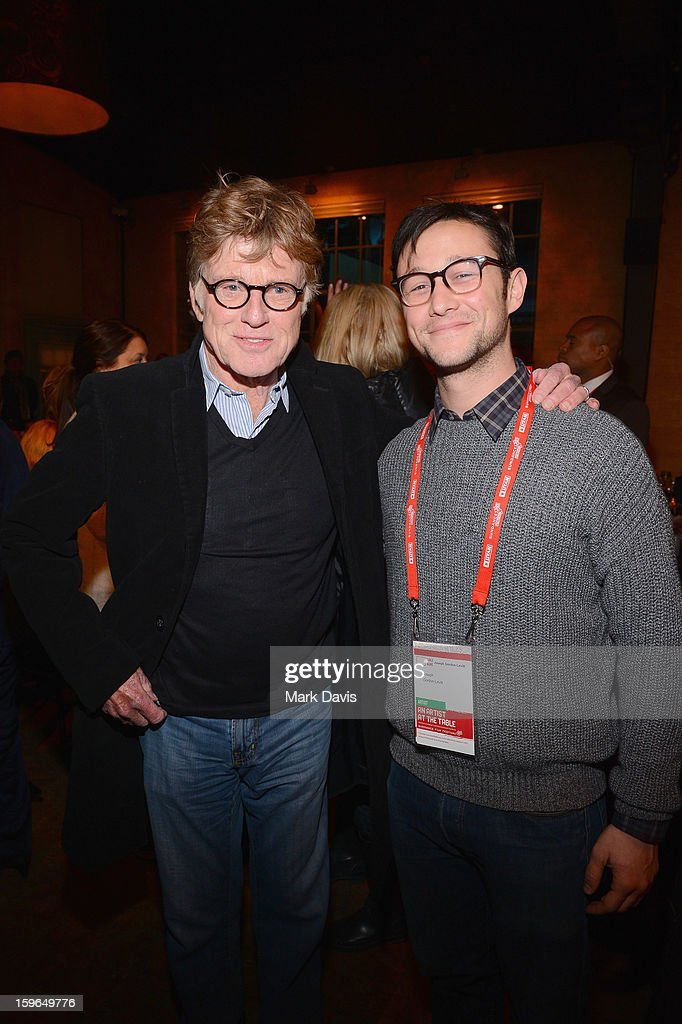 President and Founder of the Sundance Film Festival <a gi-track='captionPersonalityLinkClicked' href=/galleries/search?phrase=Robert+Redford&family=editorial&specificpeople=202897 ng-click='$event.stopPropagation()'>Robert Redford</a> and actor <a gi-track='captionPersonalityLinkClicked' href=/galleries/search?phrase=Joseph+Gordon-Levitt&family=editorial&specificpeople=213632 ng-click='$event.stopPropagation()'>Joseph Gordon-Levitt</a> attend An Artist At The Table, a benefit for the Sundance Institute during the 2013 Sundance Film Festival at The Shop on January 17, 2013 in Park City, Utah.