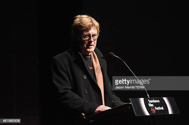 President and founder of the Sundance Institute Robert Redford speaks on stage at Netflix's 'What Happened Miss Simone' Sundance world premiere with...