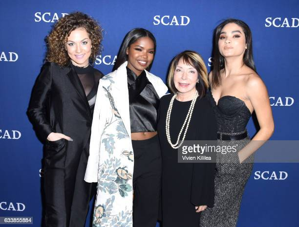 SCAD president and founder Paula Wallace poses with Rising Star Award recipients actresses Jude Demorest Ryan Destiny and Brittany O'Grady during...