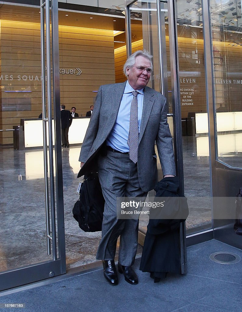 President and General Manager Glen Sather of the New York Rangers leaves the leagues legal offices following the National Hockey League Board of Governors meeting on December 5, 2012 in New York City.