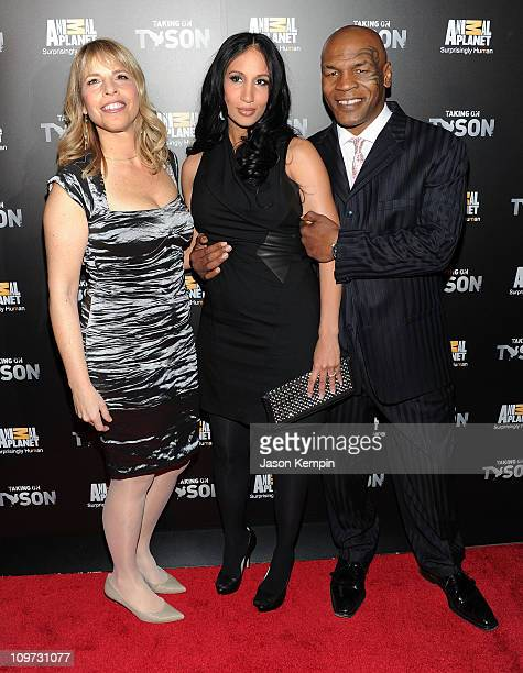 President and General Manager of Animal Planet Media Marjorie Kaplan Lakiha Spicer and boxer Mike Tyson attend the 'Taking on Tyson' New York...