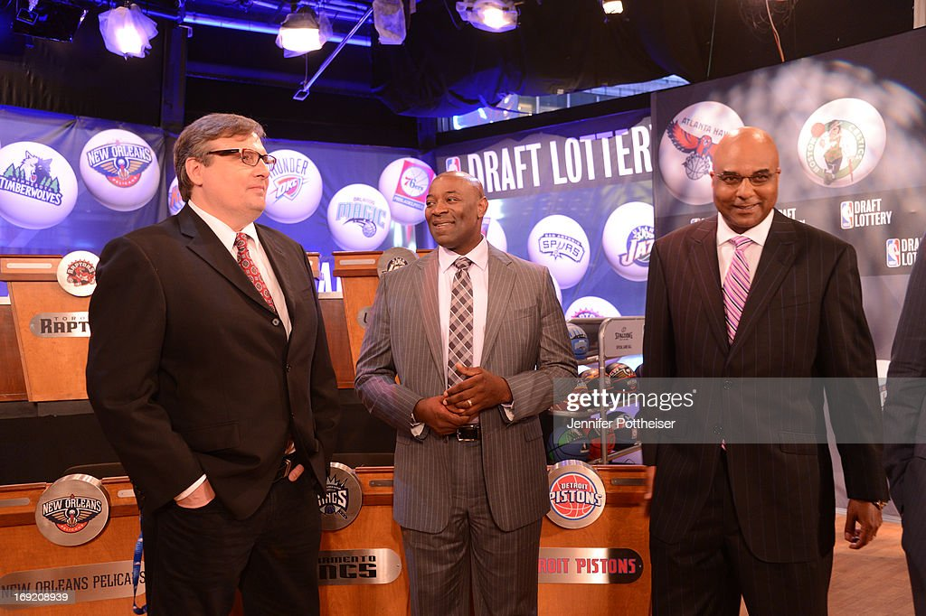 President and GM Donnie Nelson of the Dallas Mavericks chats with Head Coach Keith Smart of the Sacramento Kings and President &COO Fred Whitfield of the Charlotte Bobcats at the 2013 NBA Draft Lottery on May 21, 2013 at the ABC News' 'Good Morning America' Times Square Studio in New York City.