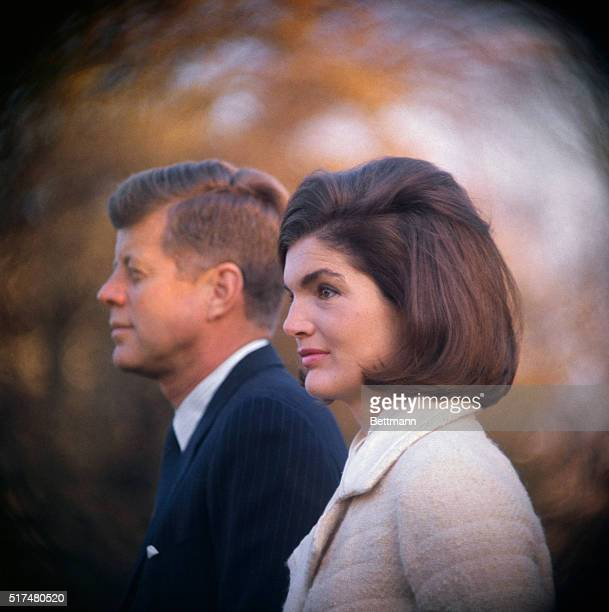 President and Mrs Kennedy are shown on the White House lawn as they witnessed part of the performance of the Black Watch Royal Highland Regiment The...