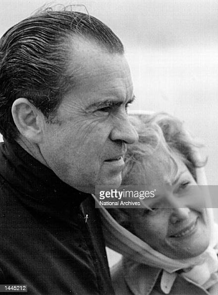 President and Mrs Nixon look at the ocean January 13 1971 at a beach in San Clemente CA