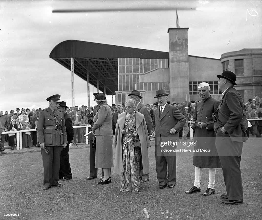 President and Mrs Sean T O'Kelly with Mr and Mrs Nehru President of India at the Curragh racecourse
